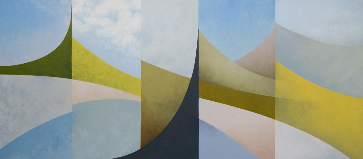 Abstract landscape with blues, yellows, greens and greys