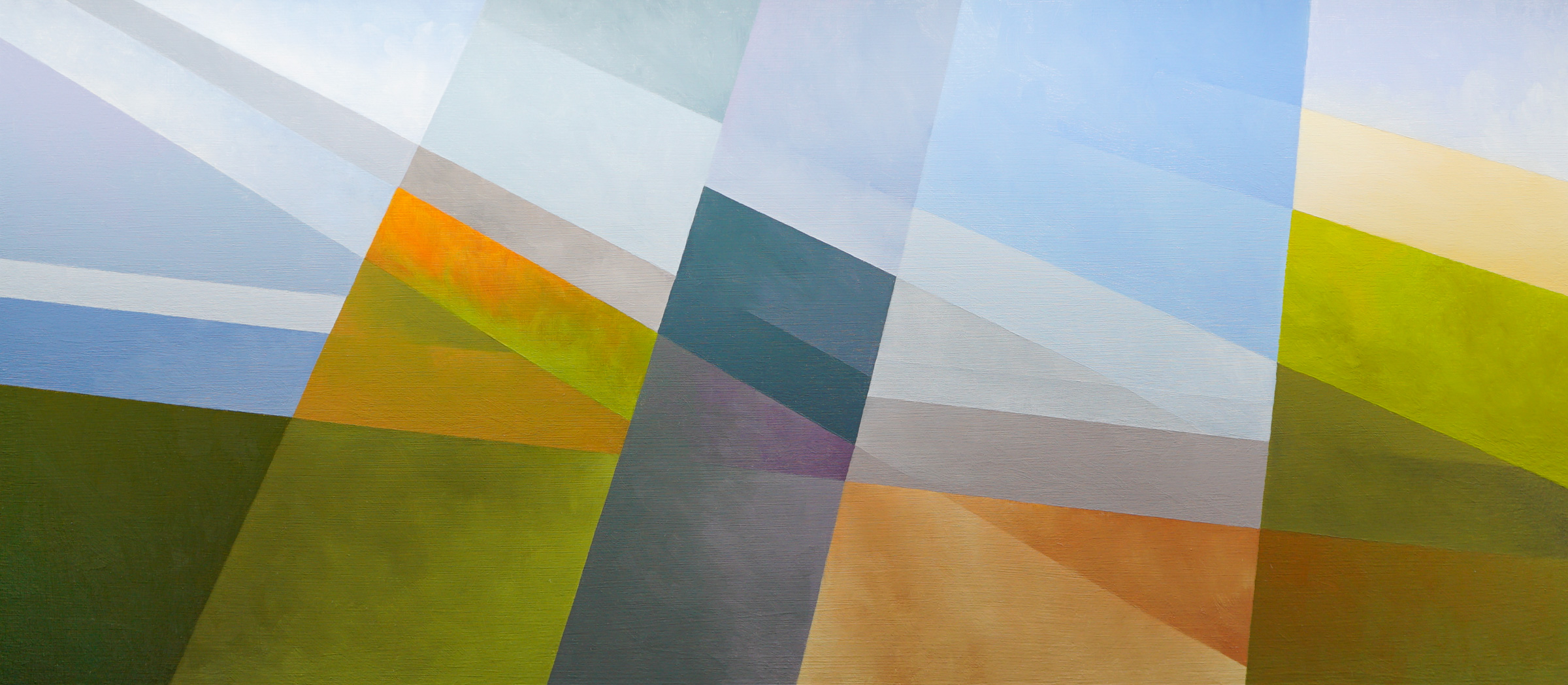 Geometric abstract landscape with blue, green, and orange