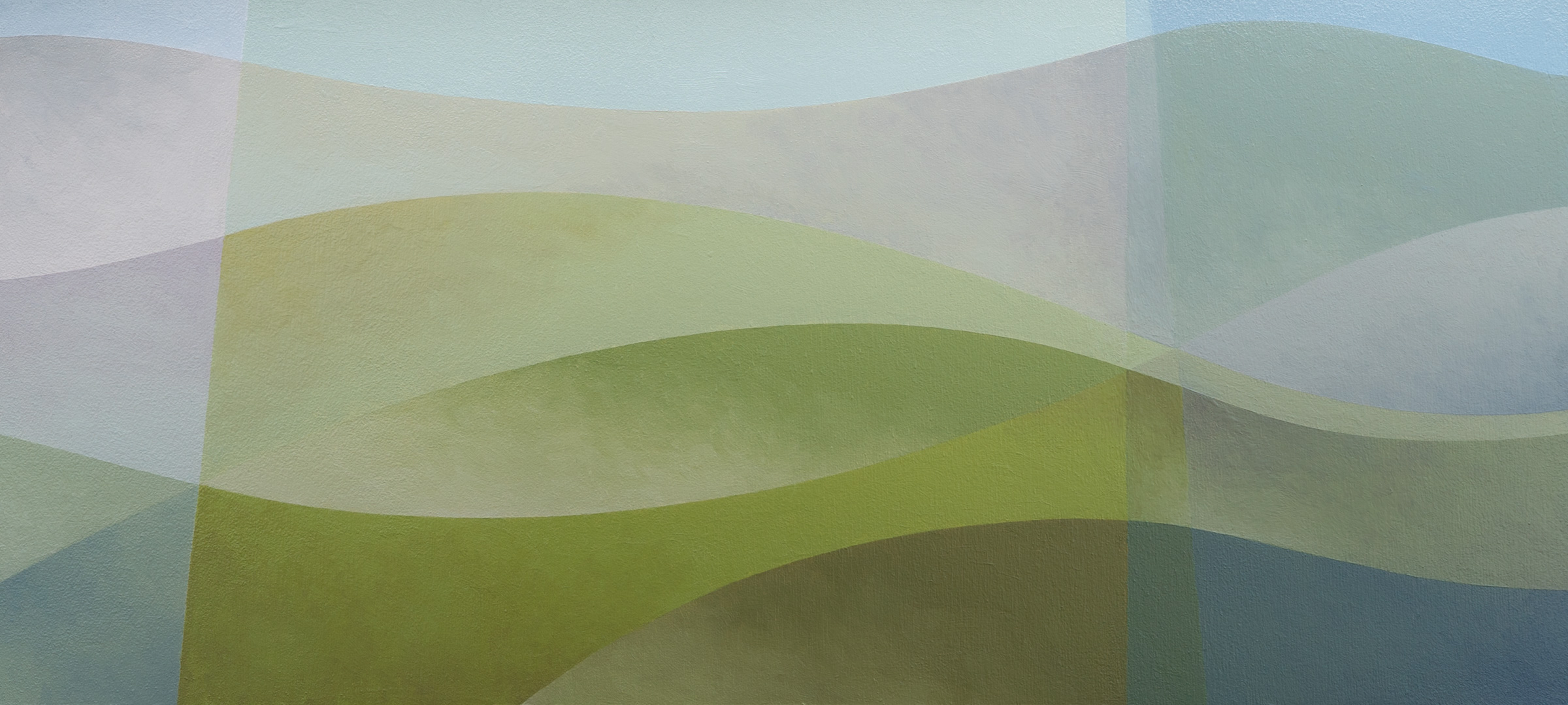 abstract landscape painting with curves in muted blues and greens