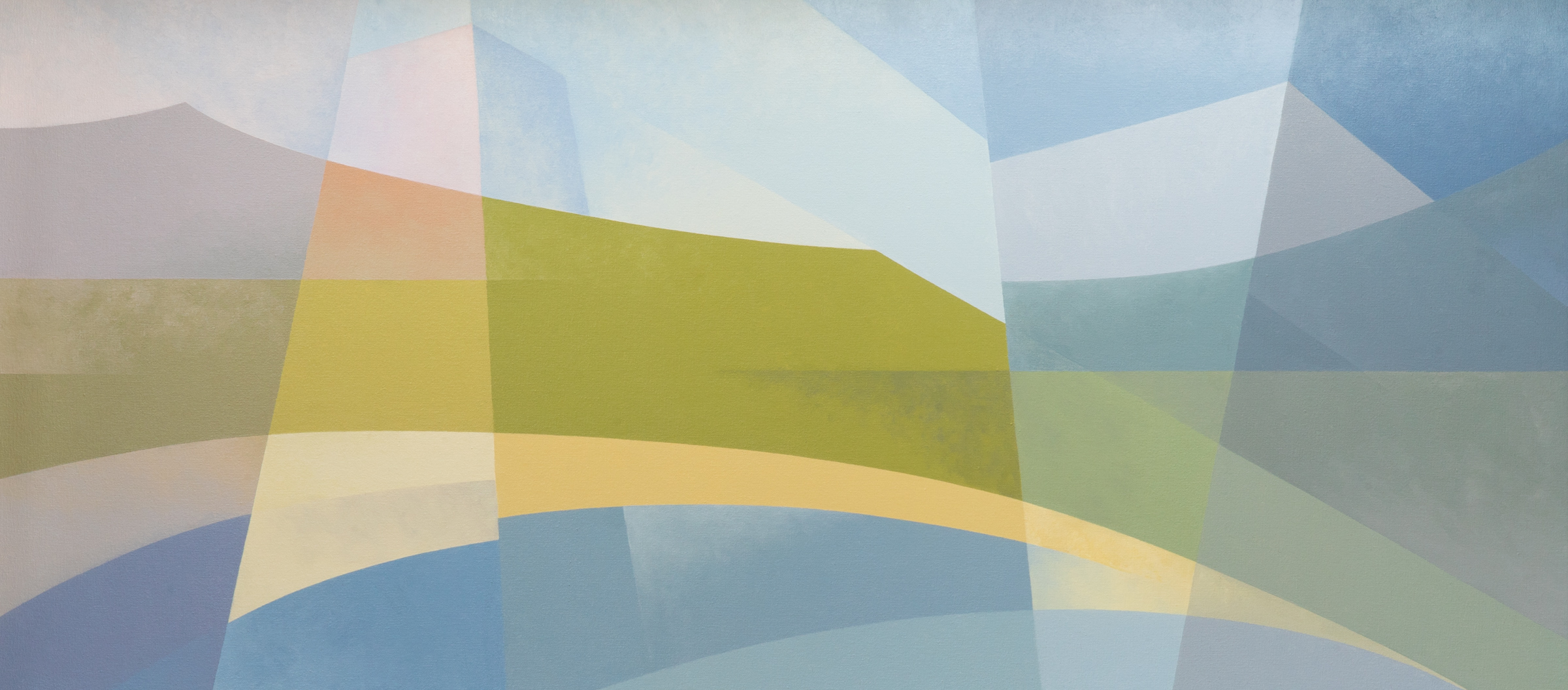 abstract landscape painting with curves, angles and pastel tones